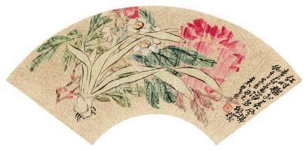来楚生(1903~1975) 花卉 镜心 设色洒金纸