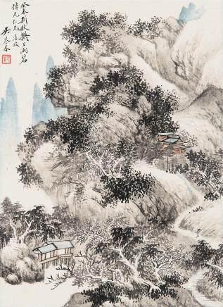 吴琴木(1894~1953) 1943年作 山水 镜心 设色纸本
