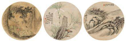 朱泉征 山水 (三帧) 镜心 设色绢本