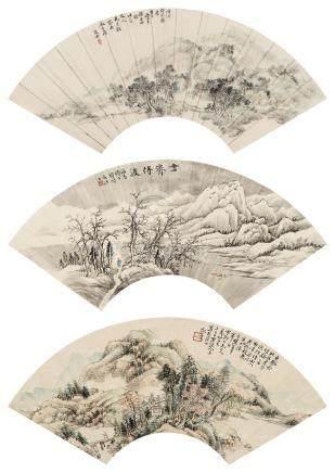 杨石朗 山水 (三帧) 镜心 设色纸本
