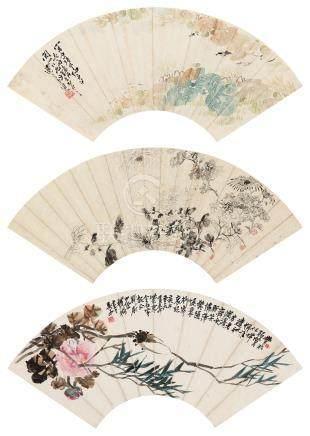 铁桥 花鸟 (三帧) 镜心 设色纸本、水墨纸本