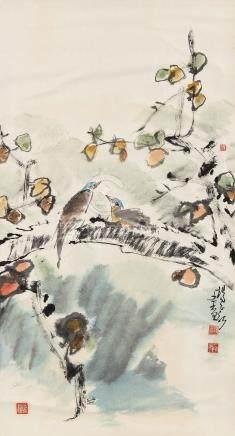 杨正新(b.1942) 枝鸟图 镜心 设色纸本
