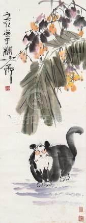 谢之光(1900~1976) 猫趣图 立轴 设色纸本