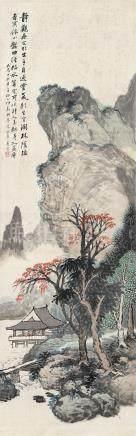 汪琨(1877~1946) 1928年作 山水 镜框
