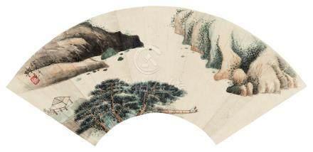 佚名 山水扇面 镜框 设色纸本