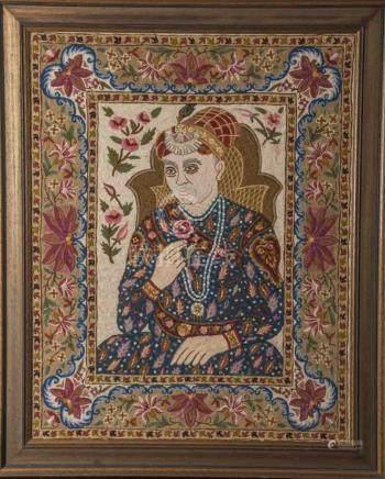 Stickbild eines indischen Maharadschas oder Heiligen Mannes, sehr aufwendig ausgeführteArbeit um