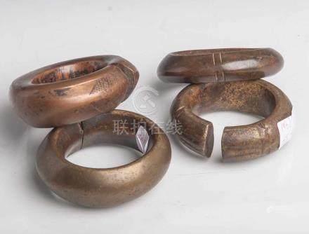 Afrikanische Manilas (4 Stk., Kongo), ursprüngl. Kolonialzahlungsmittel (imSklavenhandel), wurden