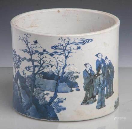 Pinseltopf, China, 19. Jahrhundert, Porzellan mit Blau-Weiß-Malerei,Gelehrtendarstellungen in