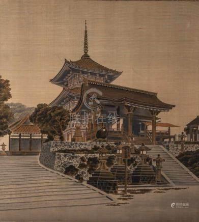 Seidenbild, gewebt, Darstellung einer Pagode, China, Anfang 20. Jahrhundert, unsigniert,auf