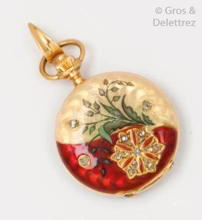 Montre de gousset en or jaune et émail vert, rouge et blanc, à décor de fleurs