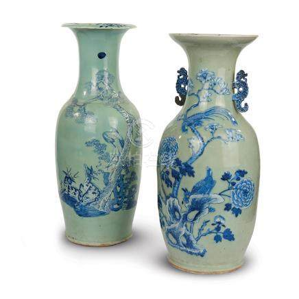 A pair of Chinese blue and light green porcelain vases, 20th