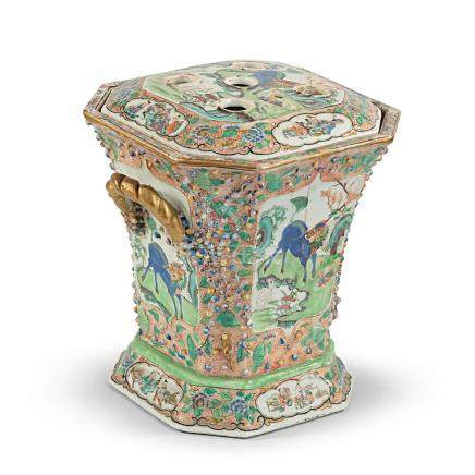 A Chinese polychrome and gilt porcelain incense burner, 19th