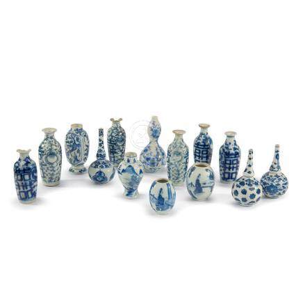 A collection of 14 Chinese small porcelain vases