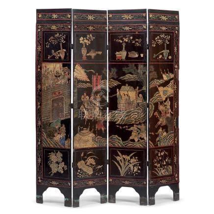 A Chinese Coromandel four-panel screen, 19th century