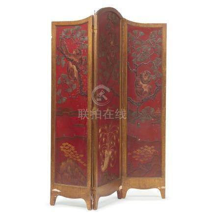 A Chinese red lacquered and gilt wood three-panel screen