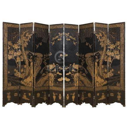 A large Chinese black lacquered and gilt decorations eight-p