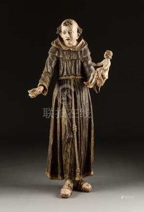 MONUMENTALE FIGUR DES HEILIGEN ANTONIUS  Wohl Italien, 17. Jh.  Holz ...