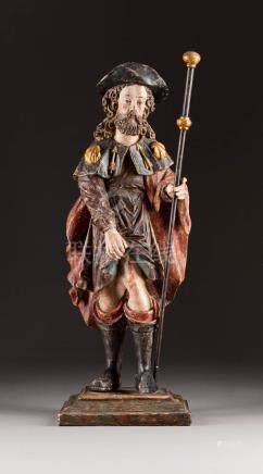 HEILIGER ROCHUS  Spanien, 17. Jh.  Holz, plastisch geschnitzt, polyc ...