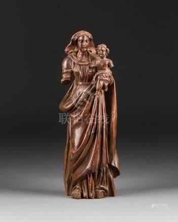 GOTTESMUTTER MIT DEM CHRISTUSKIND  Flandern, um 1700.  Holz, plastis ...