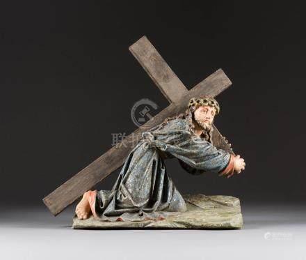 KREUZTRAGENDER CHRISTUS  Süddeutsch, 17./ 18. Jh.  Holz, vollplastis ...