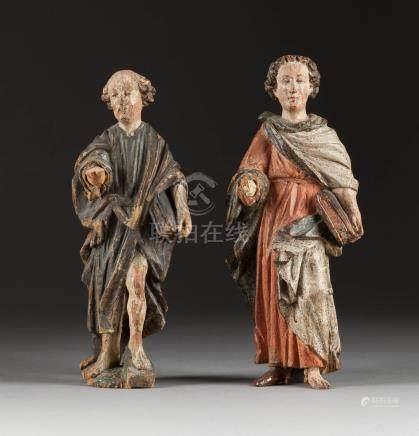 ZWEI HEILIGENFIGUREN  Süddeutsch, um 1700.  Holz, plastisch geschnit ...