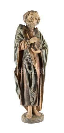 APOSTEL PETRUS  Deutsch, 18./ 19. Jh.  Holz, plastisch geschnitzt, f ...