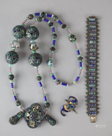 3 Chinese silver jewelry items, 19th/20th c.