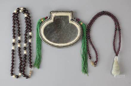 2 Chinese beaded necklaces & a Chinese mirror