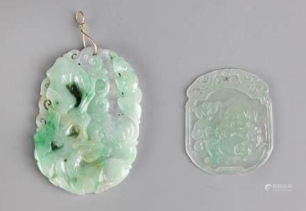 2 Chinese carved jadeite pendants