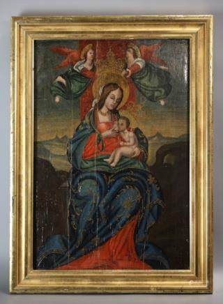 painted wooden panel of a religious scene, 18th c.