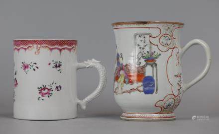 2 Chinese export porcelain mugs/cups, 18th c.