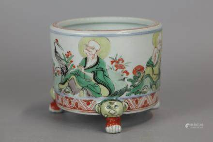 Chinese multicolor porcelain censer, 19th/20th c.
