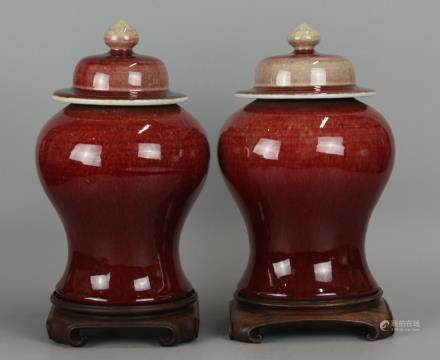 pair of Chinese oxblood porcelain cover vases 19th c.