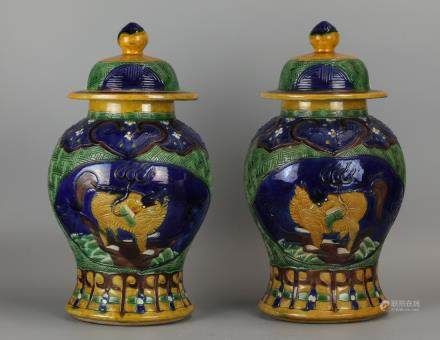 pair of Chinese porcelain cover jars, 19th c.