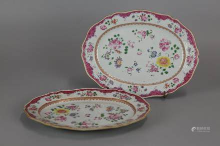 pair of Chinese export porcelain platters, 19th c.