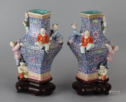 pair of Chinese multicolor porcelain vases, 19th c.