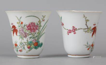 pair of Chinese porcelain cups, Republican period