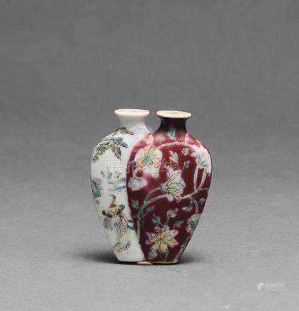 FAMILLE ROSE DOUBLE SNUFF BOTTLE, 18TH - 19TH C.
