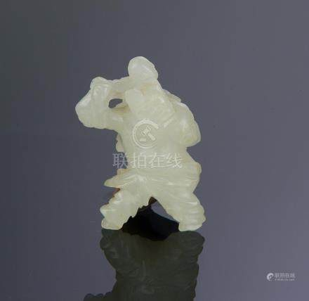 CHINESE WHITE JADE CARVING OF MAN & BOY, 18TH C.