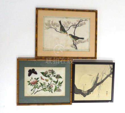 A Chinese painting on pith paper depicting butterflies and blossoming branches, 17.5 x 24.