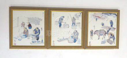 A set of three modern coloured reproductions showing the journey of the ceramics craft, each 26.
