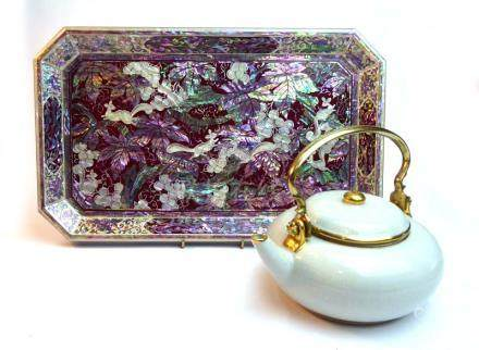 A modern abalone and mother of pearl-type serving tray of canted rectangular form, w.