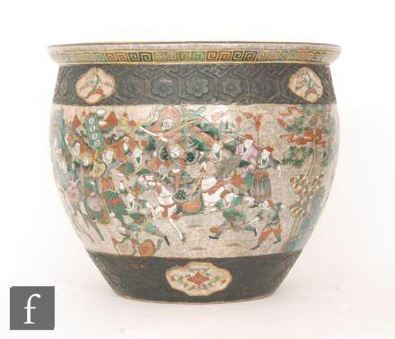 A large 20th Century Japanese fish bowl (or jardiniere) enamel decorated to the exterior with