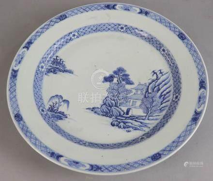 """18th century Chinese porcelain platter, 15 1/4"""" diameter. Provenance: Haverhill St., Reading,"""