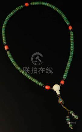 """Tibetan necklace with red coral and turquoise beads, 24""""l."""