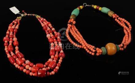 "Two Sino-Tibetan necklaces, 17""l."