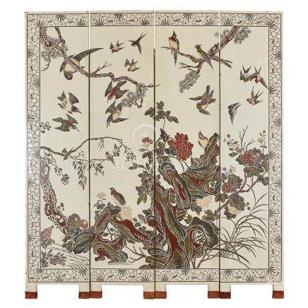 COROMANDEL LACQUER FOUR-PANEL SCREENEARLY 20TH CENTURY lacquered on both sides with various