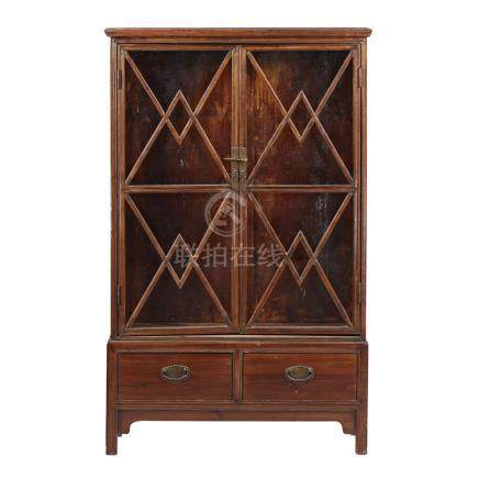 WOODEN DISPLAY CABINETthe rectangular tops above two astragal doors, raised on a separate base
