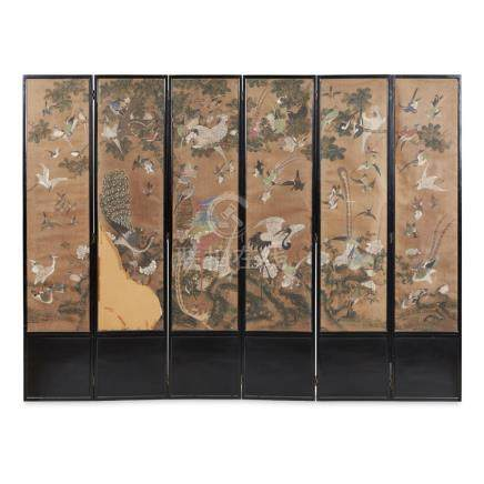 SIX-PANEL PAINTED 'BIRDS AND FLOWERS' SCREENQING DYNASTY, 19TH CENTURY the panel fronts with