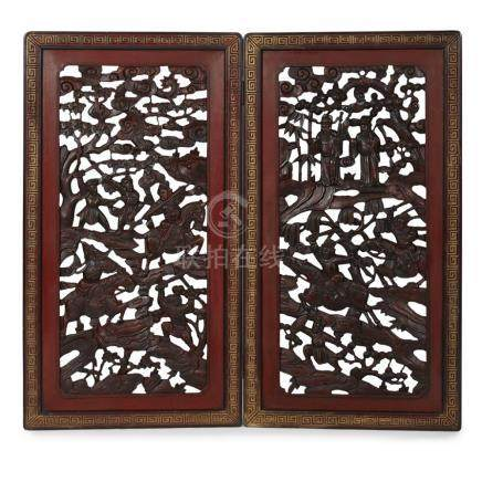 CARVED AND LACQUERED WOOD TWO-FOLD SCREENQING DYNASTY, 19TH CENTURY elaborately carved and pierced